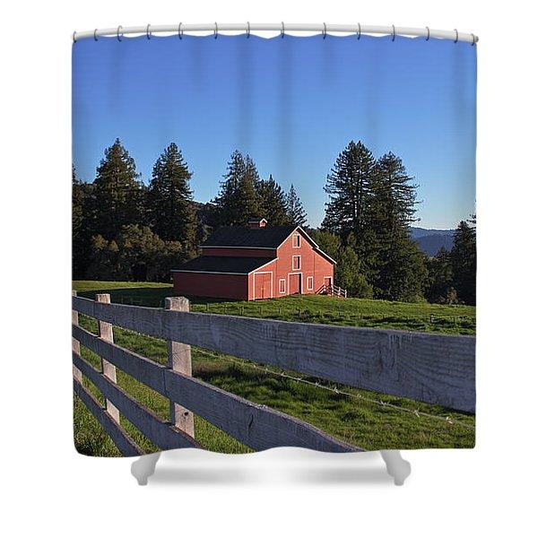 Red Barn Shower Curtain