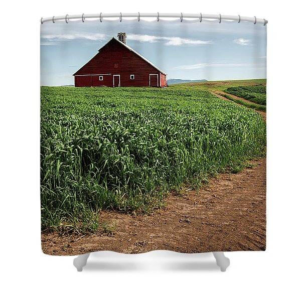 Red Barn In Green Field Shower Curtain