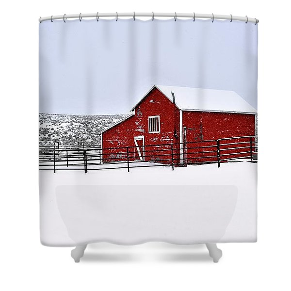 Red Barn In Winter Shower Curtain