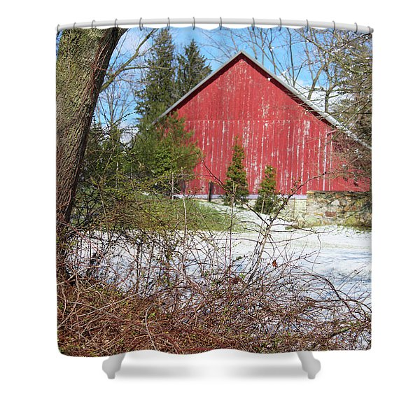Red Barn Shower Curtain