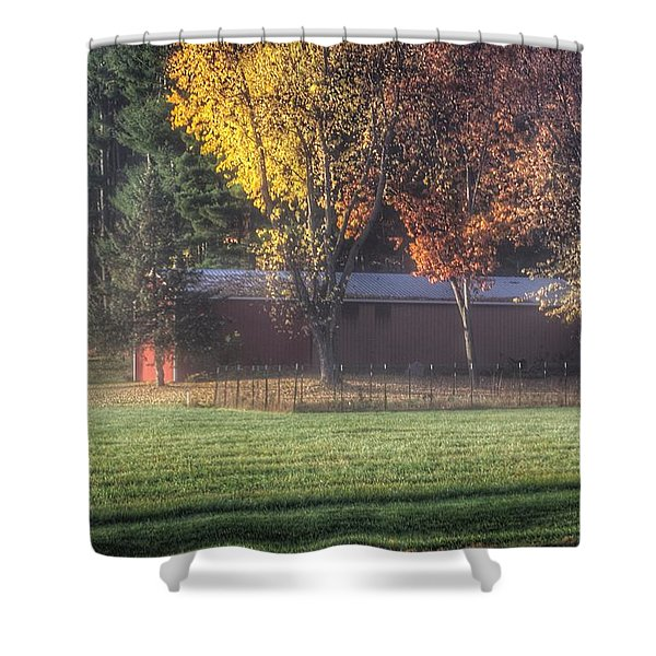 0041 - Red Barn On A Foggy Fall Morning Shower Curtain