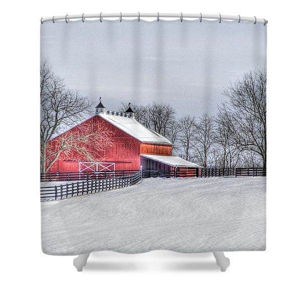 Red Barn Winter Shower Curtain