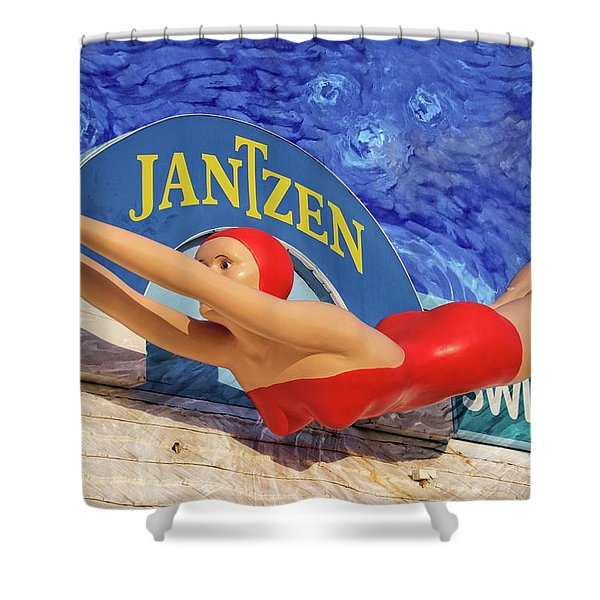 Red Bathing Suit Shower Curtain