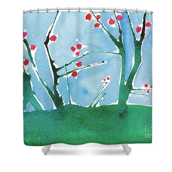 Red Berry Flowers Shower Curtain