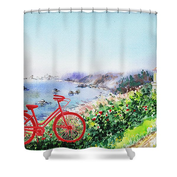 Red Bicycle At The Shore Shower Curtain