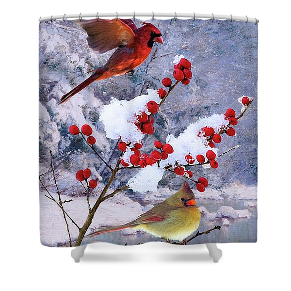 Red Birds Of Christmas Shower Curtain