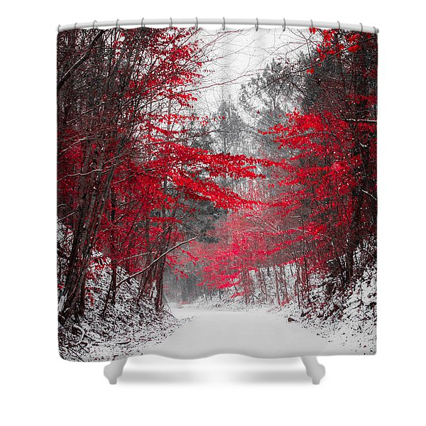 Red Blossoms  Shower Curtain