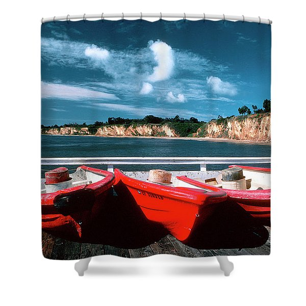 Red Boat Diaries Shower Curtain