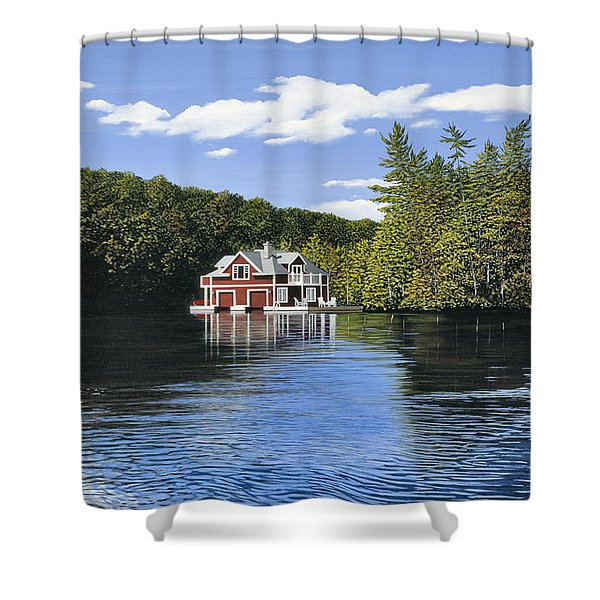 Red Boathouse Shower Curtain