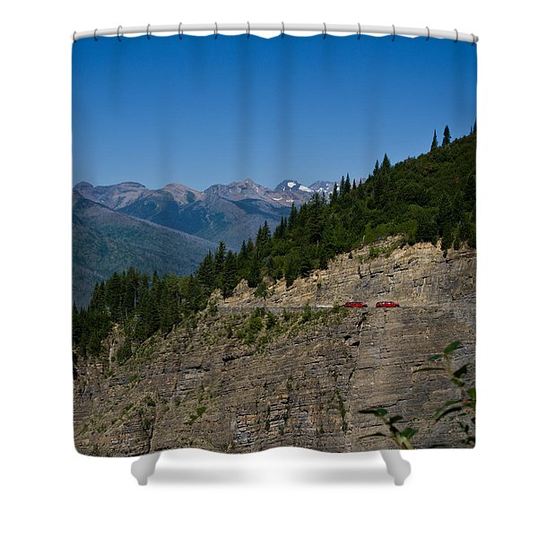 Red Buses, Glacier National Park Shower Curtain
