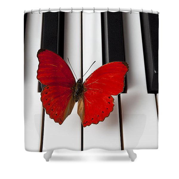Red Butterfly On Piano Keys Shower Curtain