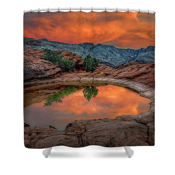 Red Canyon Reflection Shower Curtain