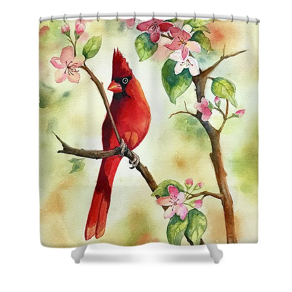Red Cardinal And Blossoms Shower Curtain