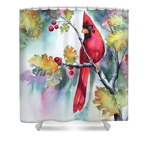 Red Cardinal With Berries Shower Curtain