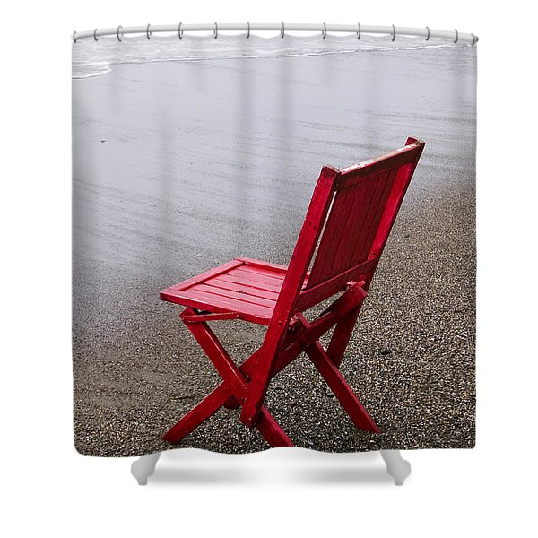 Red Chair On The Beach Shower Curtain