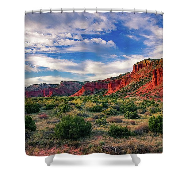 Red Cliffs Of Caprock Canyon Shower Curtain
