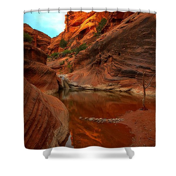 Red Cliffs Reflections Shower Curtain