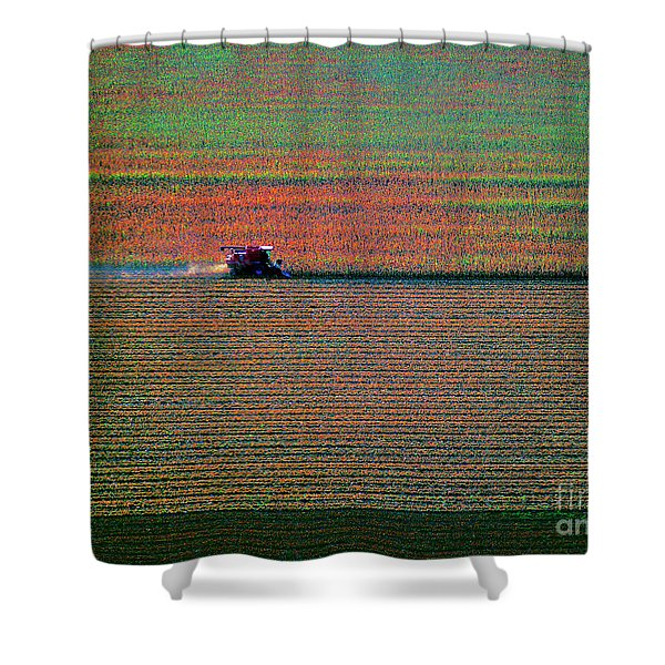 Red Combine Harvesting  Mchenry Aerial Shower Curtain