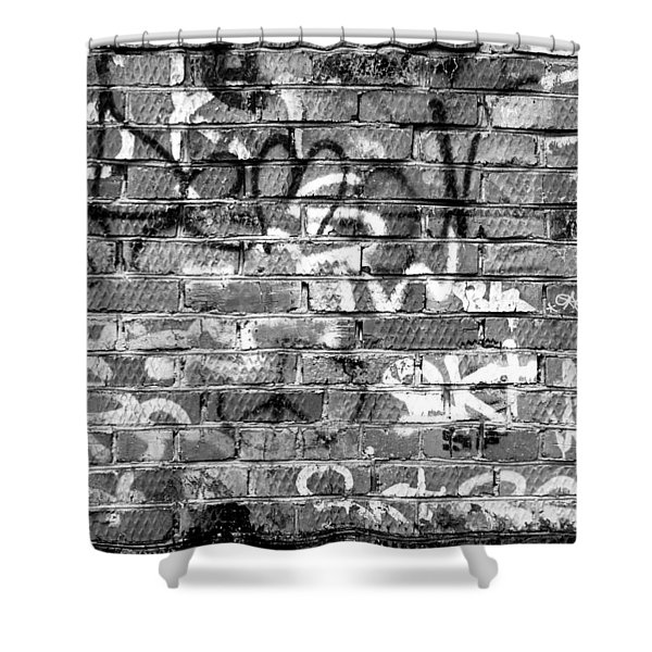 Red Construction Brick Wall And Spray Can Art Signatures Shower Curtain