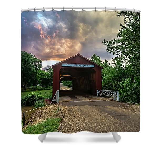 Red Coverd Bridge With Pretty Sky  Shower Curtain