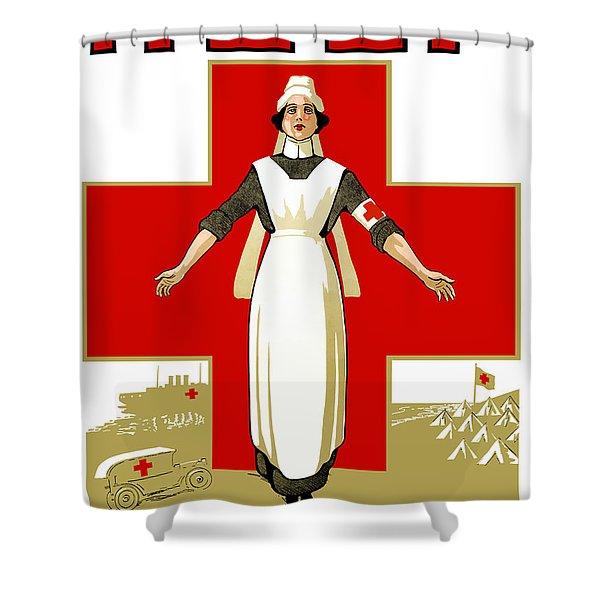 Red Cross Nurse - Help Shower Curtain