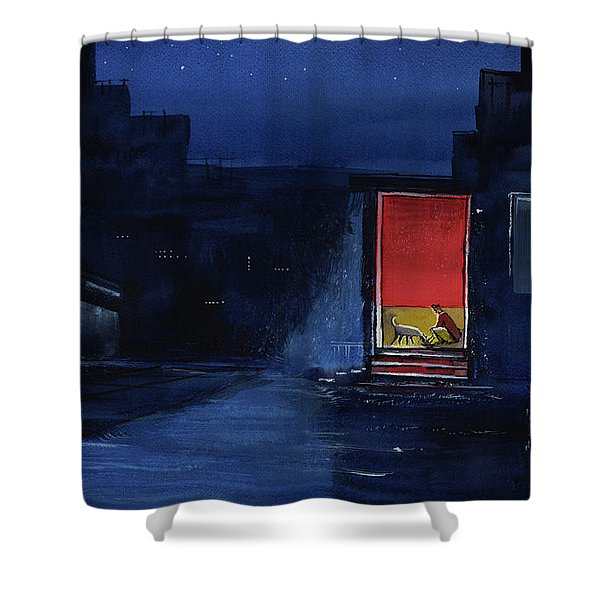 Red Curtain Shower Curtain