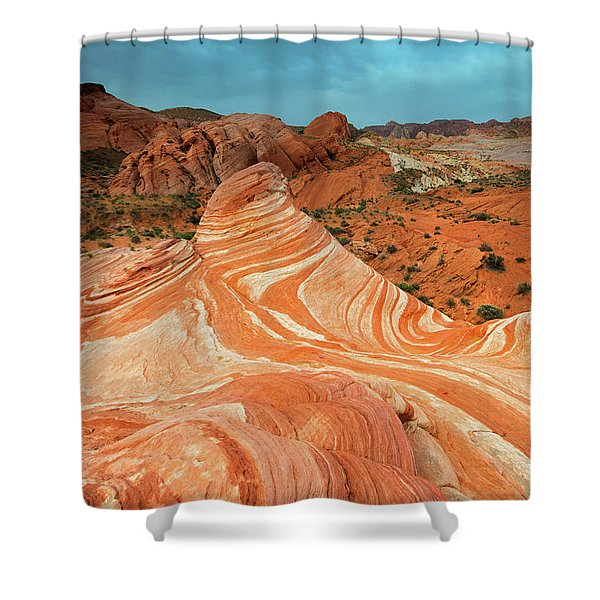 Red Desert Stripes Shower Curtain