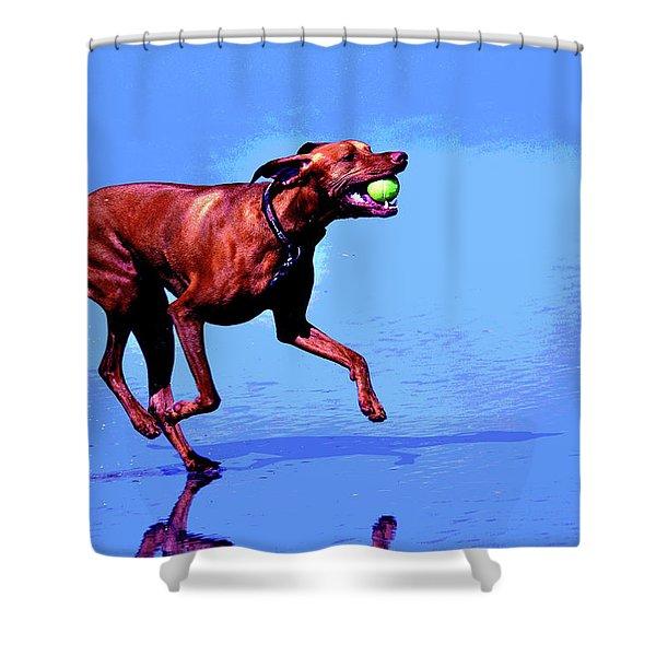 Red Dog Running Shower Curtain