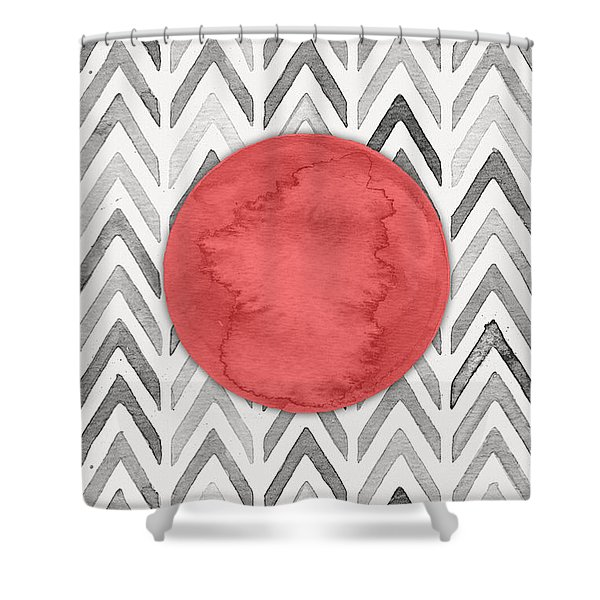 Red Dot On Chevron Watercolor Pattern  Shower Curtain
