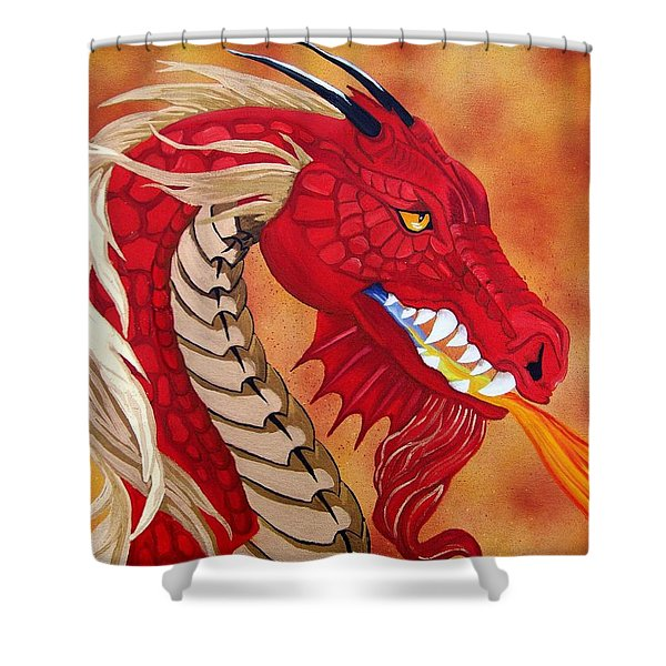 Red Dragon Shower Curtain by Debbie LaFrance