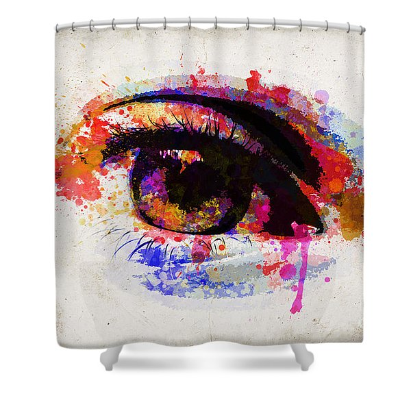 Red Eye Watercolor Shower Curtain