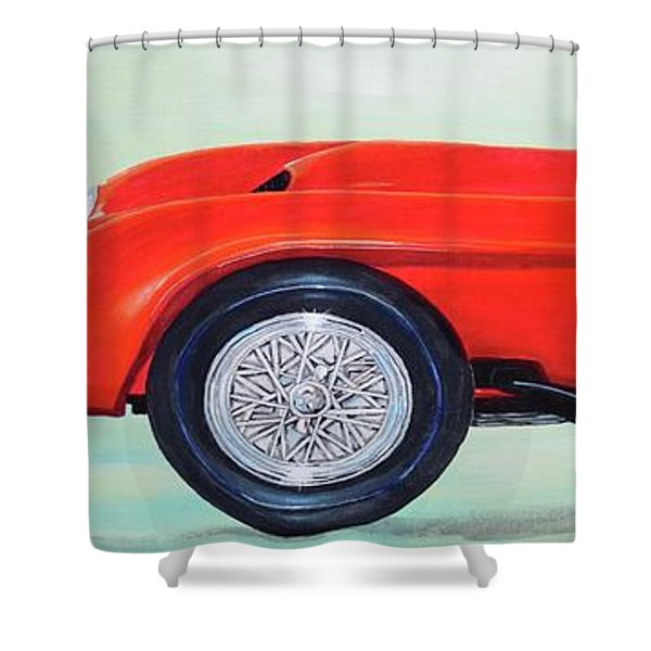 Shower Curtain featuring the painting Red Ferrari by Mary Scott