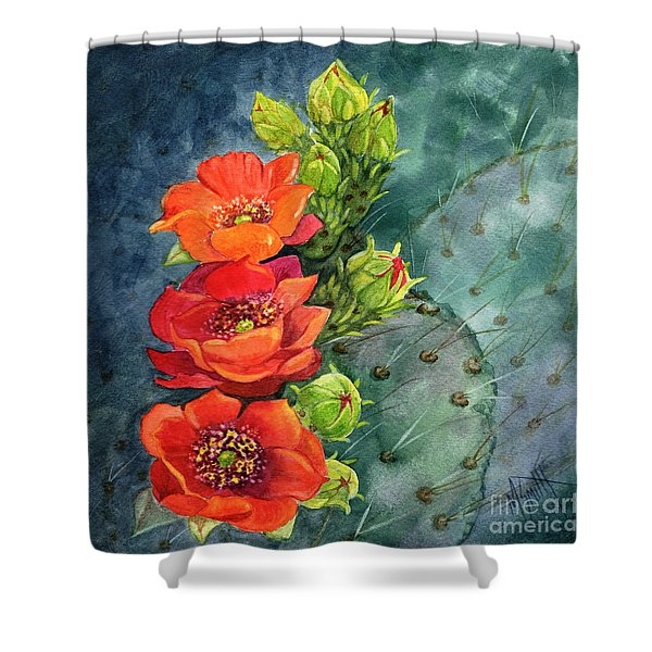 Red Flowering Prickly Pear Cactus Shower Curtain