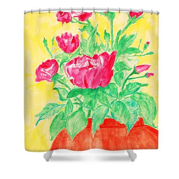 Red Flowers In A Brown Vase Shower Curtain