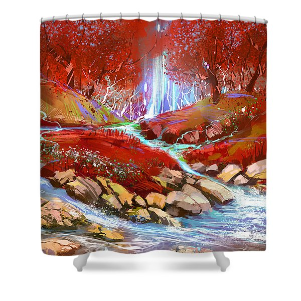 Shower Curtain featuring the painting Red Forest by Tithi Luadthong