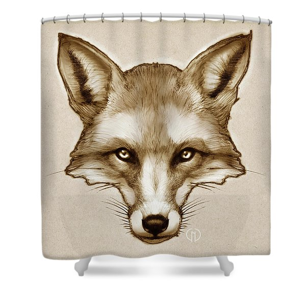 Red Fox Sketch Shower Curtain