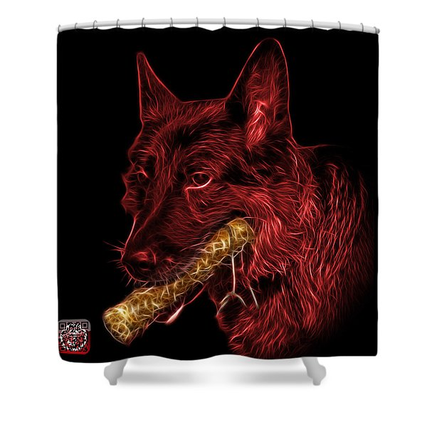 Red German Shepherd And Toy - 0745 F Shower Curtain