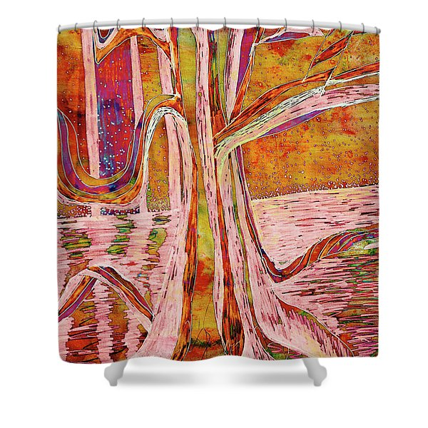 Red-gold Autumn Glow River Tree Shower Curtain
