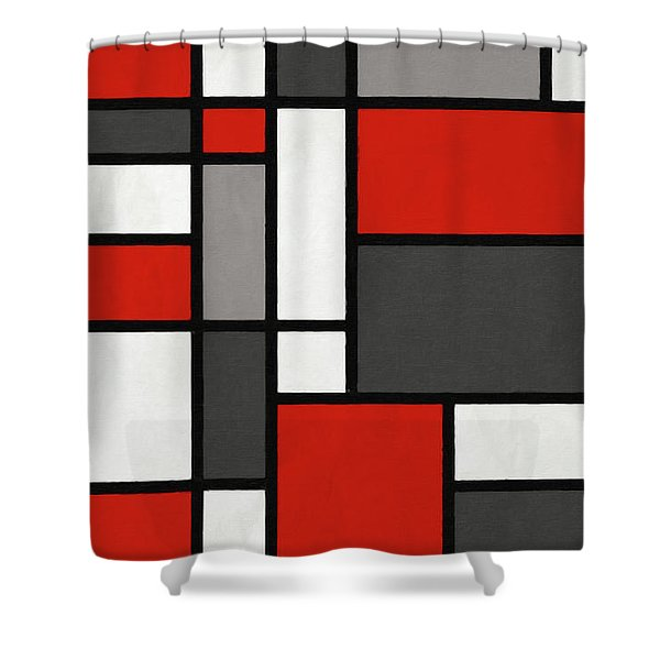 Red Grey Black Mondrian Inspired Shower Curtain