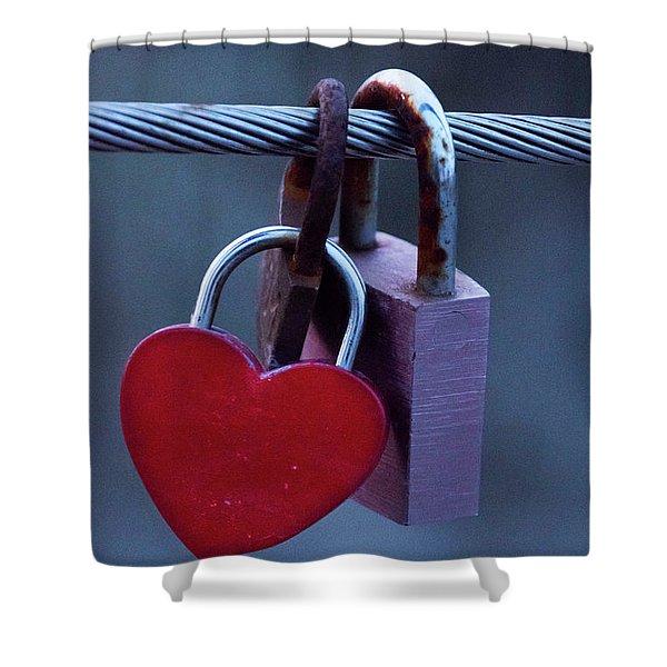 Red Heart Padlock Shower Curtain