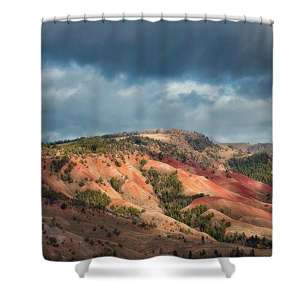 Red Hills Landscape Shower Curtain