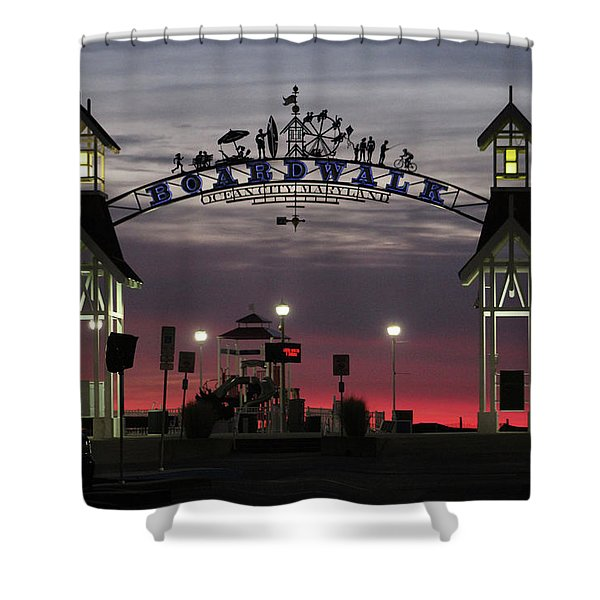 Red Horizon Thru The Boardwalk Arch Shower Curtain