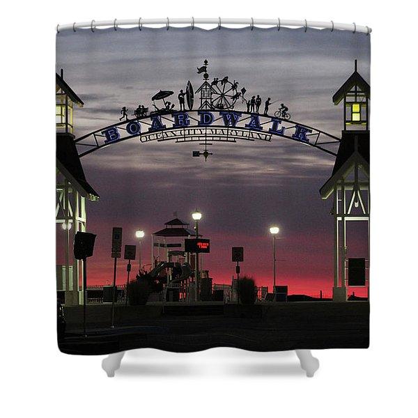 Red Horizon Thru The Boardwalk Arch Shower Curtain