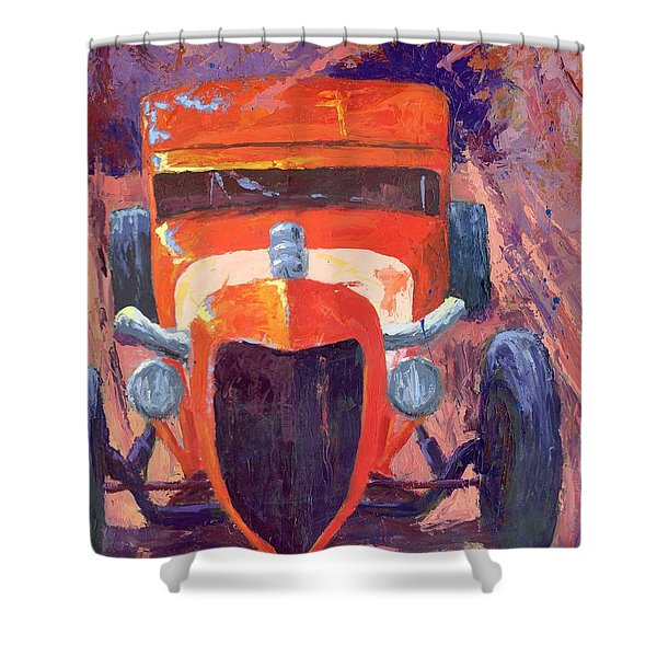 Red Hot Rod Sedan Shower Curtain