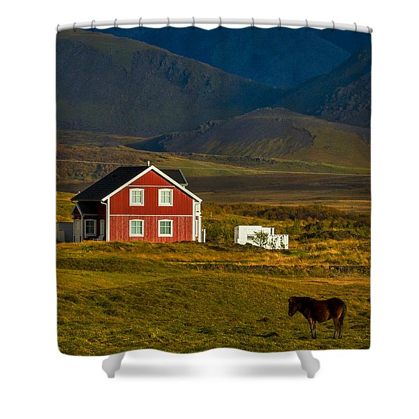Red House And Horses - Iceland Shower Curtain