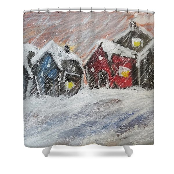 Red House In The Snow Shower Curtain