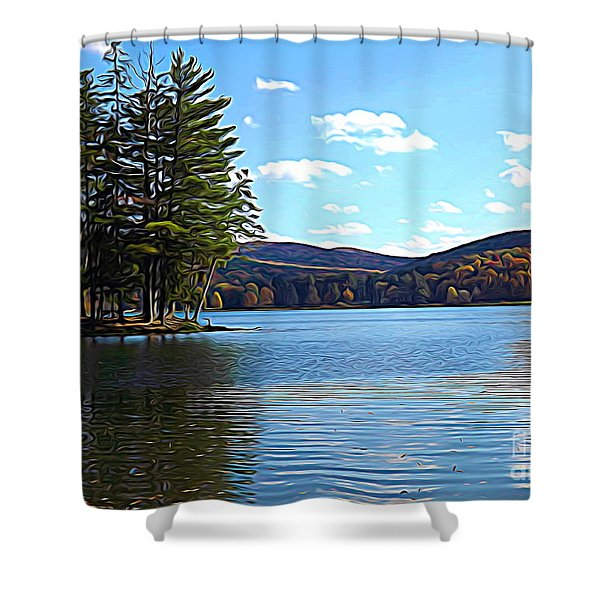 Red House Lake Allegany State Park In Autumn Expressionistic Effect Shower Curtain