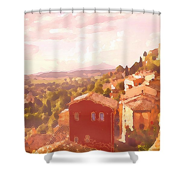 Red House On A Hill Shower Curtain