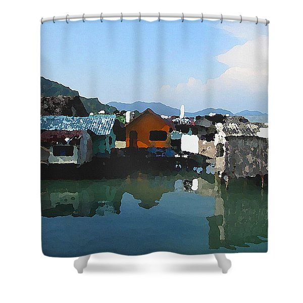 Red House On The Water Shower Curtain