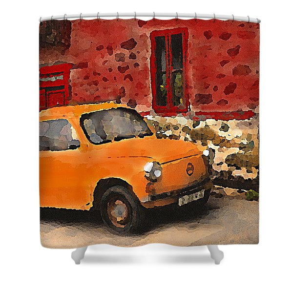 Red House With Orange Car Shower Curtain